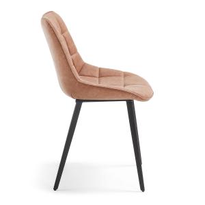 Chaise fauteuil avec accoudoirs en bois et tissu - MANU