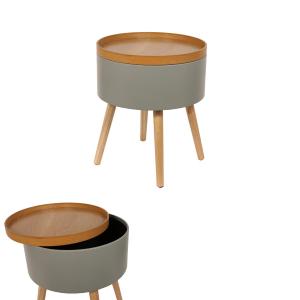 Tao, table en bois avec 2 rallonges de 50 cm - Marron, Taupe - Taupe laqué - 151 à 180 cm